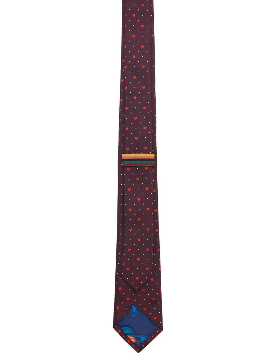 PAUL SMITH Burgundy Silk Heart & Dot Tie