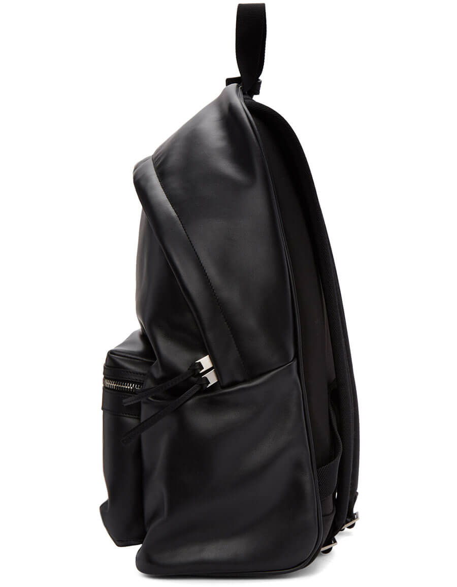 SAINT LAURENT Black Leather City Backpack