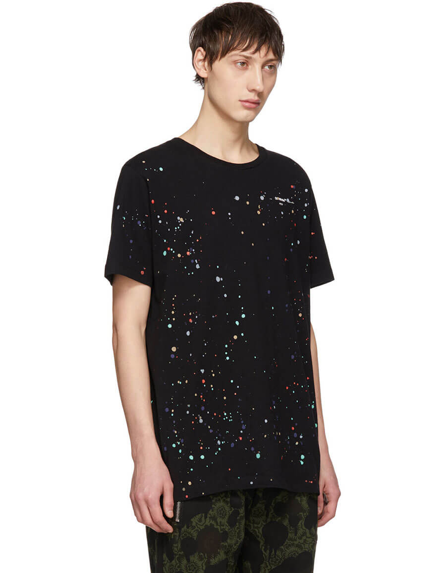OFF WHITE Black Paint Splatter T Shirt
