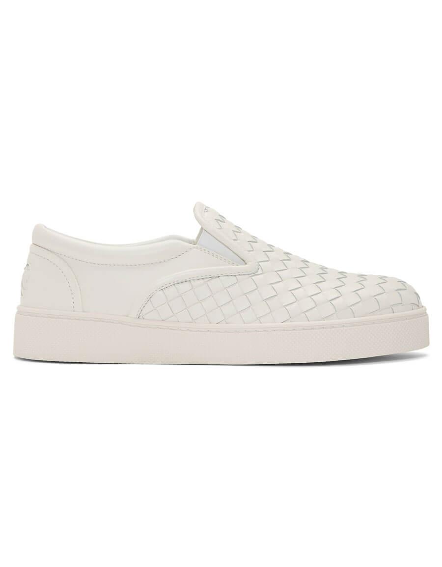 BOTTEGA VENETA White Intrecciato Dodger Slip On Sneakers