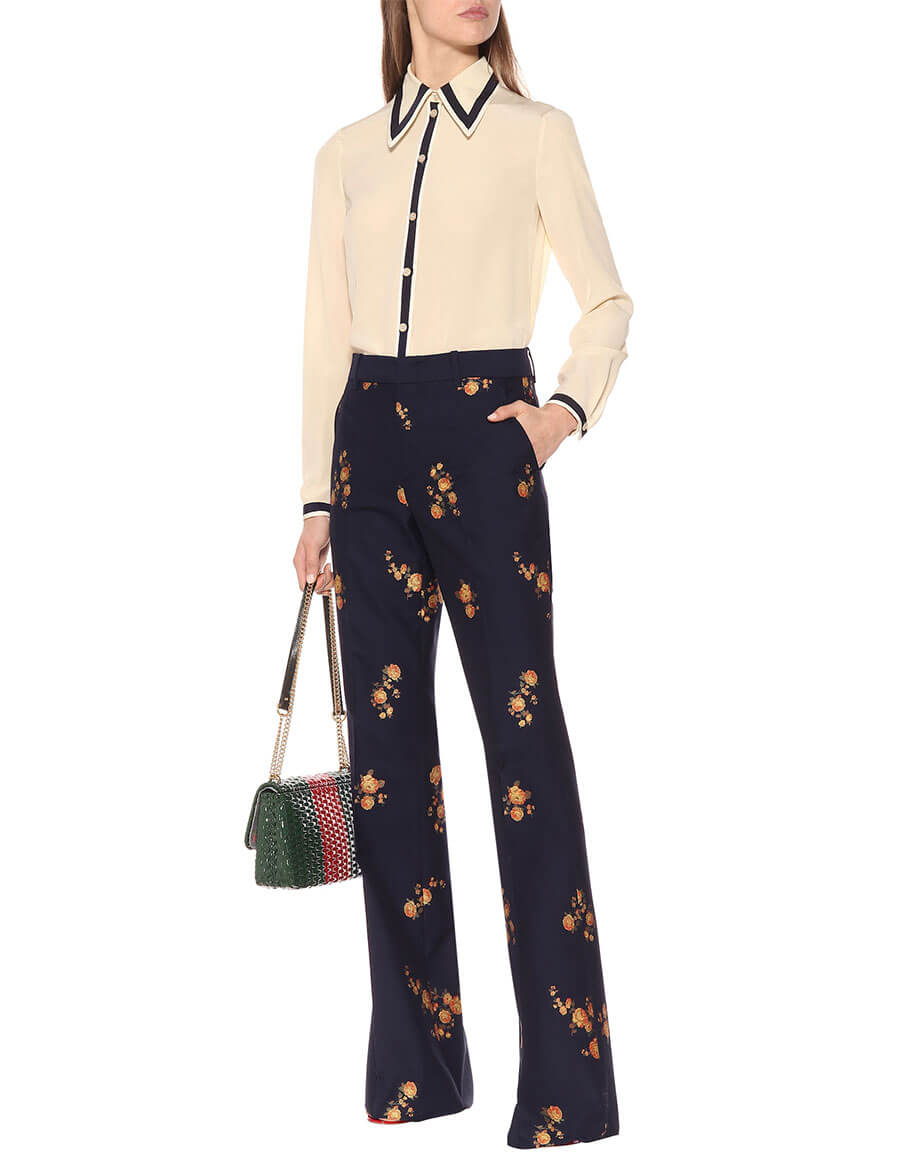GUCCI Floral fil coupé pants