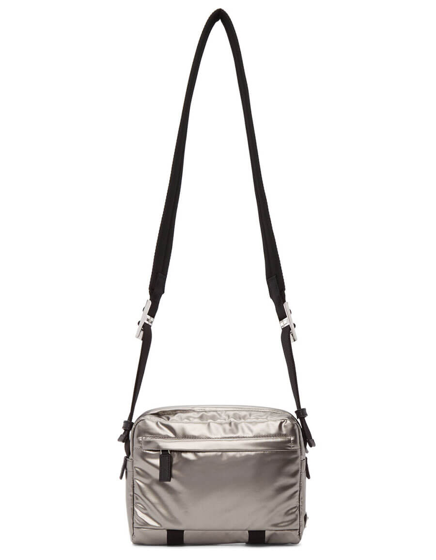 PRADA Silver Metallic Messenger Bag