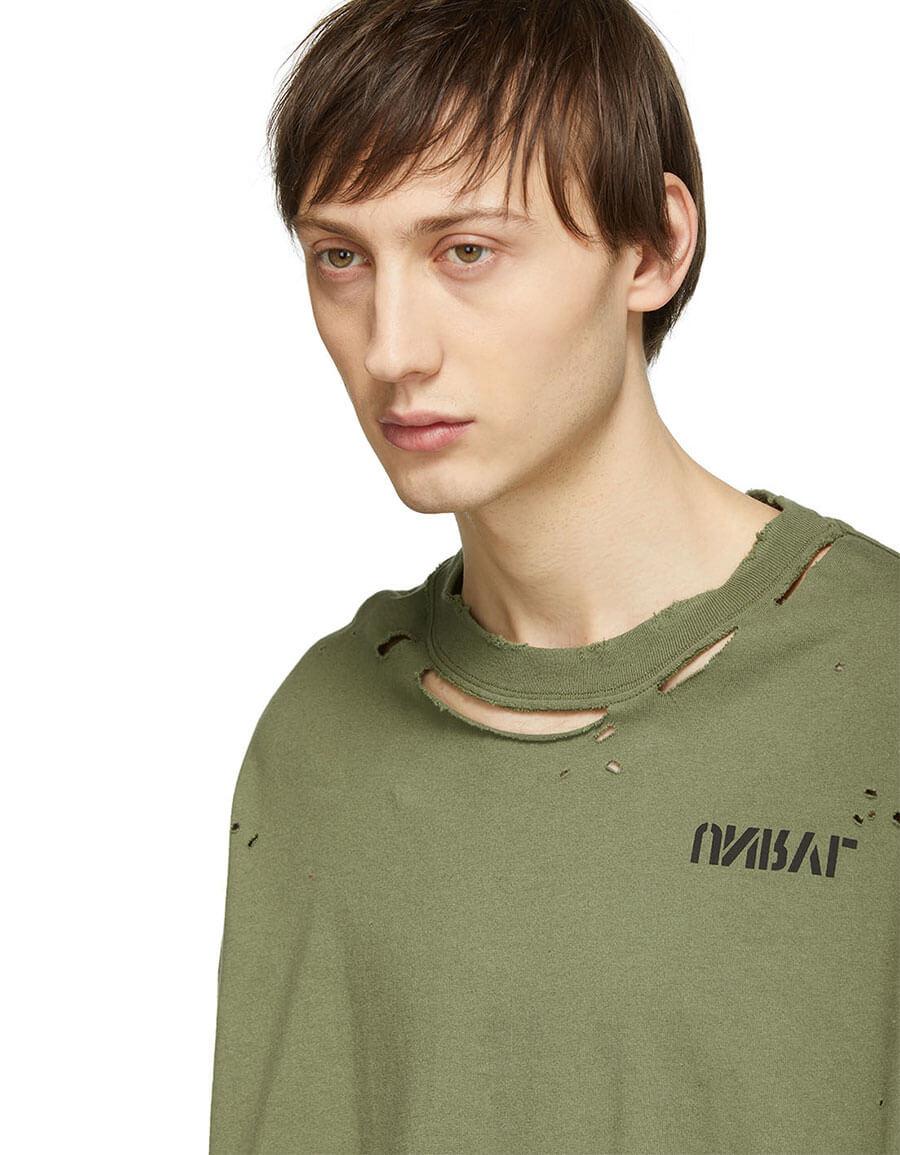 UNRAVEL Green Été Skull Vintage J Box T Shirt