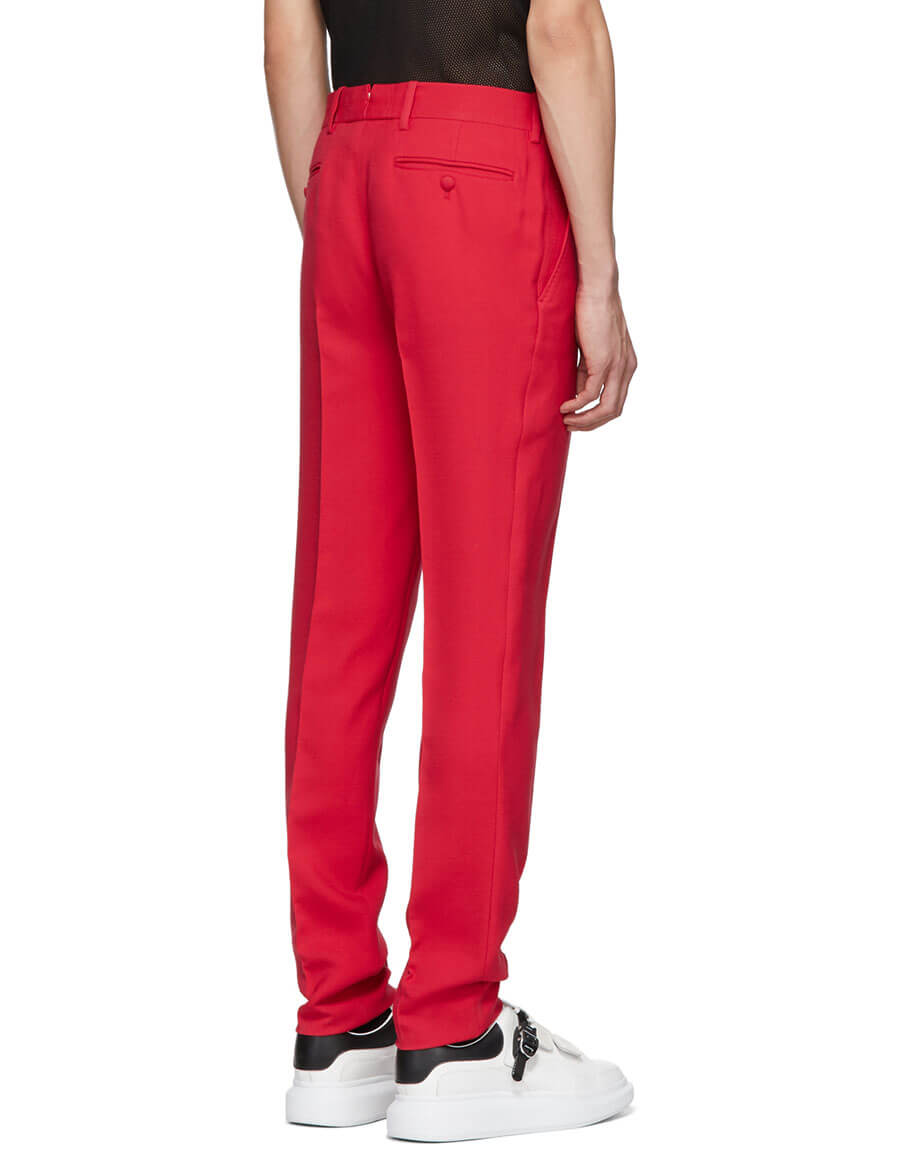 ALEXANDER MCQUEEN Red Wool Trousers
