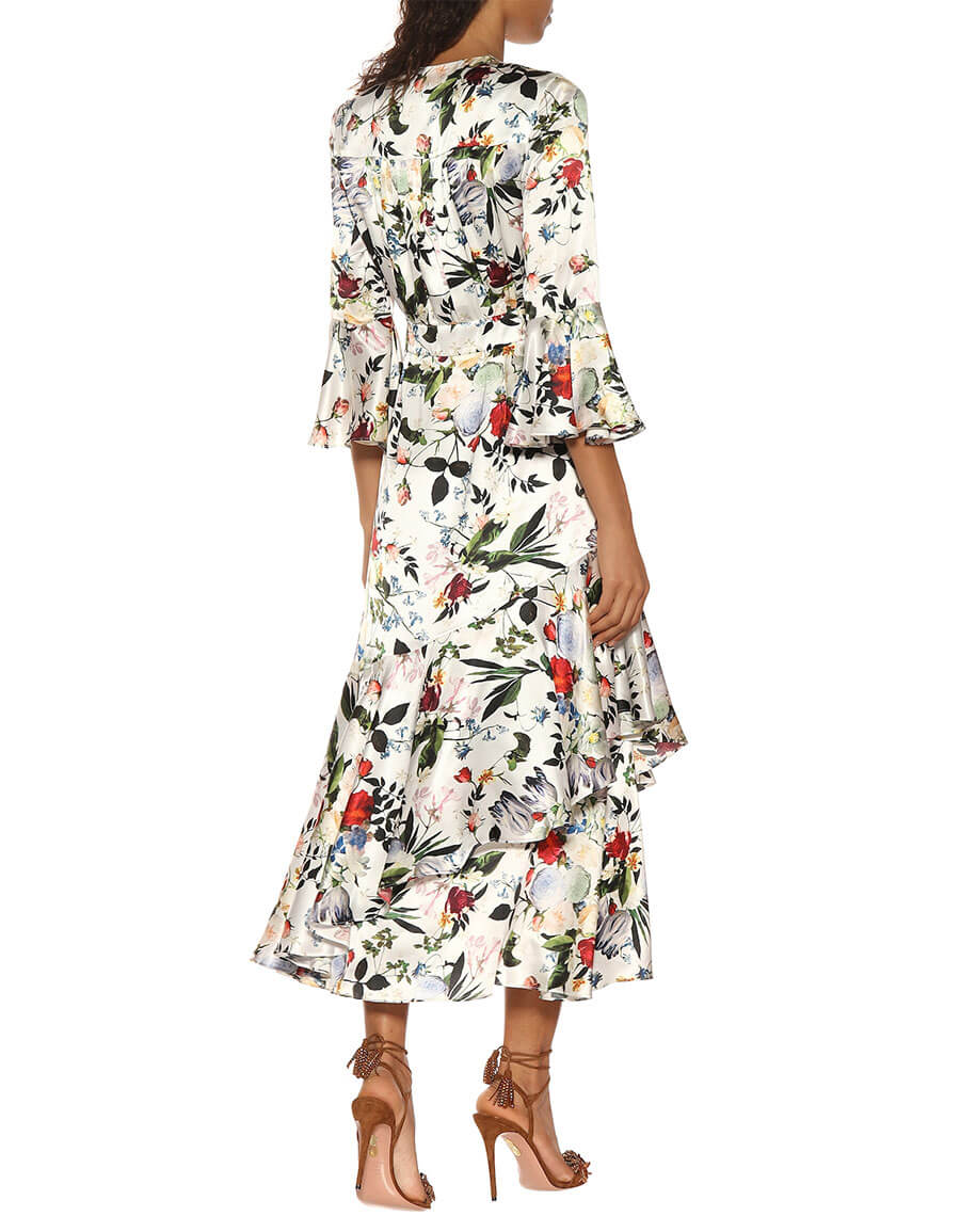 ERDEM Florence floral printed silk dress