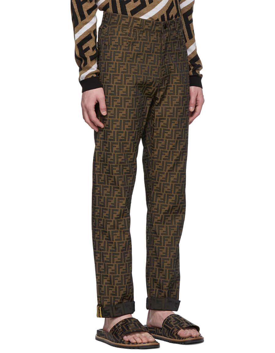 FENDI Brown All Over 'Forever Fendi' Trousers