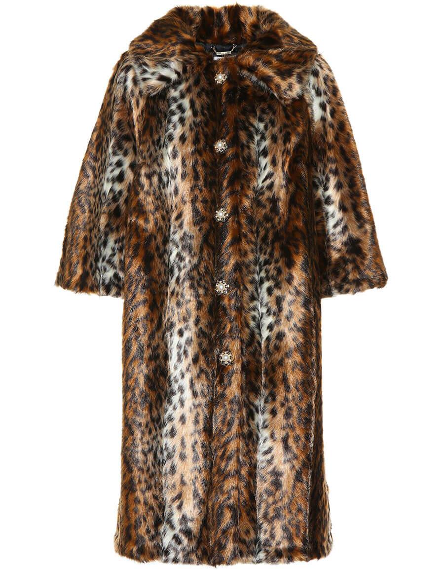 ERDEM Embellished faux fur coat