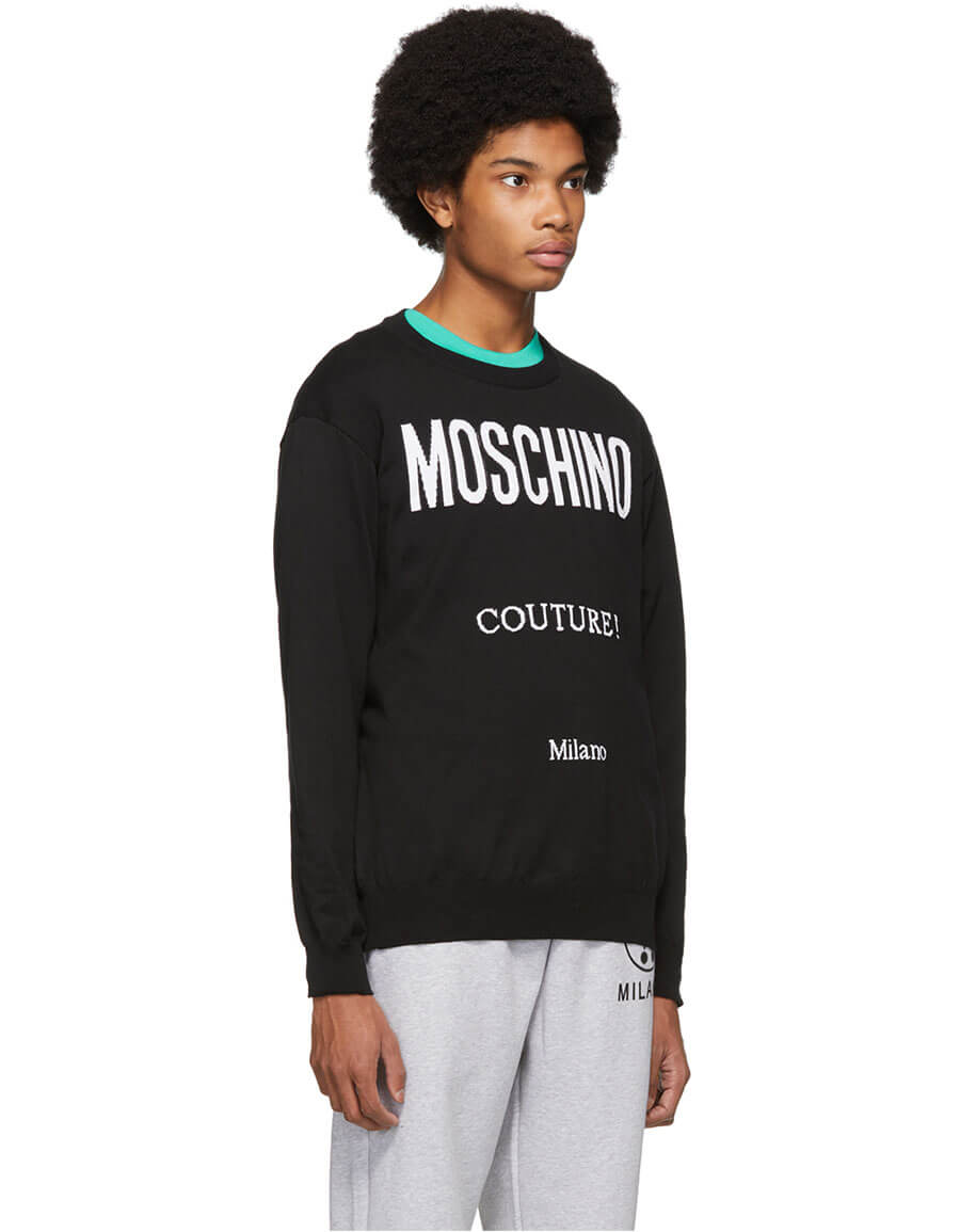 MOSCHINO Black Jacquard 'Couture!' Sweater