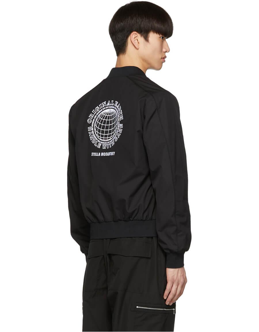 STELLA MCCARTNEY Black Embroidered Logo Bomber Jacket