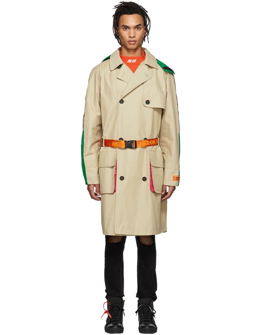 HERON PRESTON Beige & Mulitcolor Trench Coat