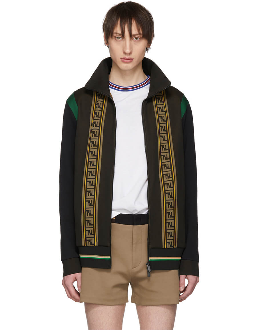 FENDI Brown Knit 'Forever Fendi' Track Jacket