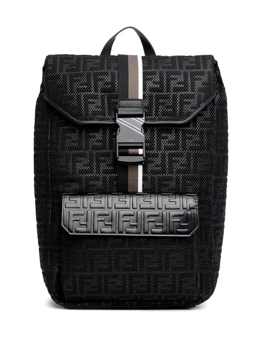 FENDI Black 'Forever Fendi' Mesh Backpack