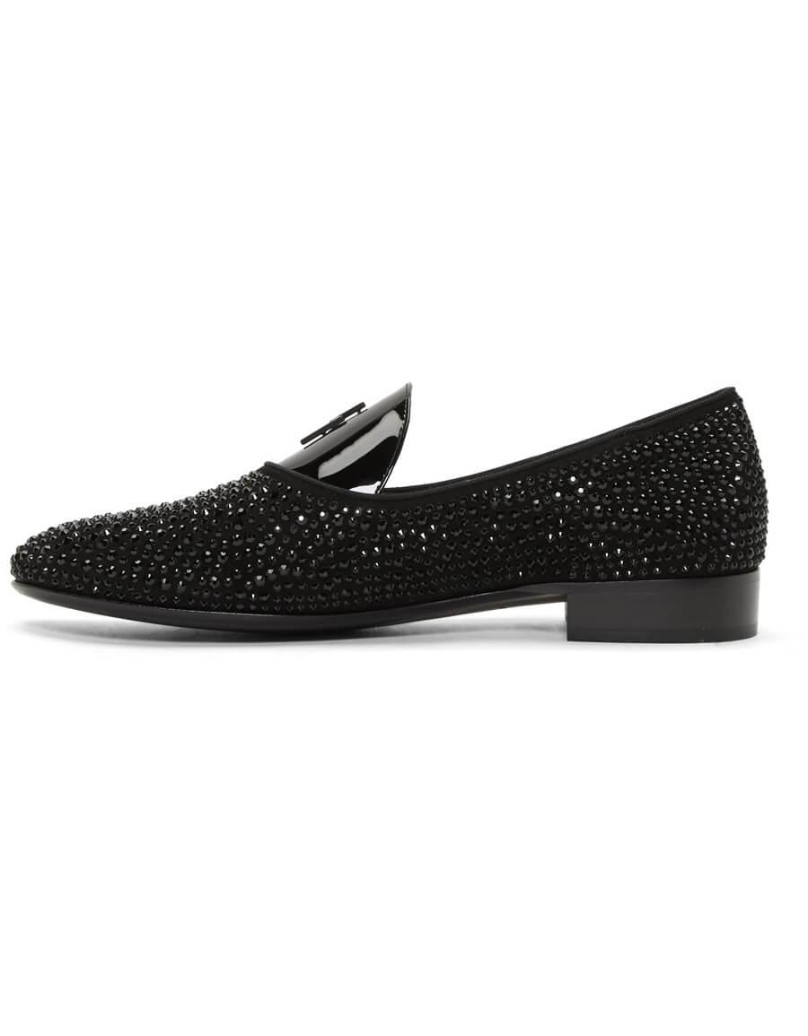 GIUSEPPE ZANOTTI Black Patent Pebbled Loafers