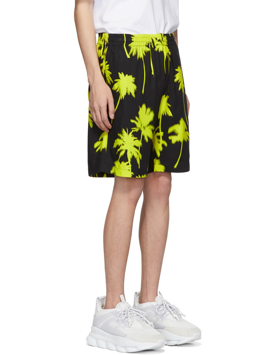 MSGM Black & Yellow Palm Trees Shorts