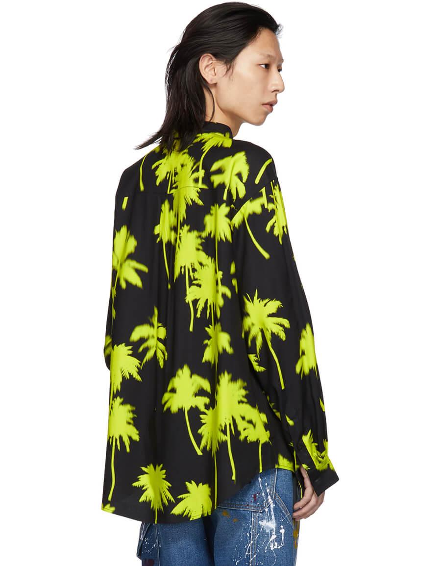 MSGM Black & Yellow Palm Trees Shirt