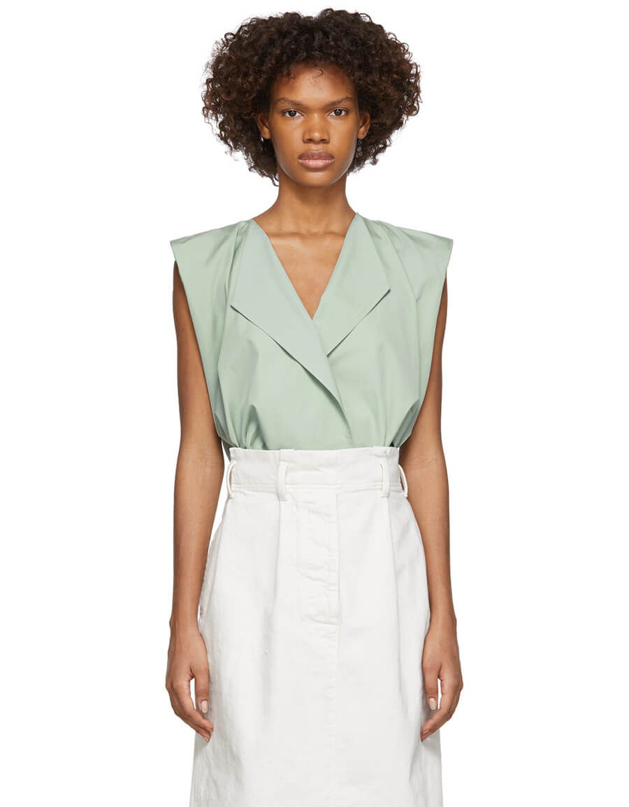 LEMAIRE Green Wrapover Blouse