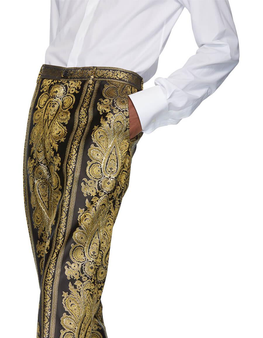 DOLCE & GABBANA Black & Gold Jacquard Trousers