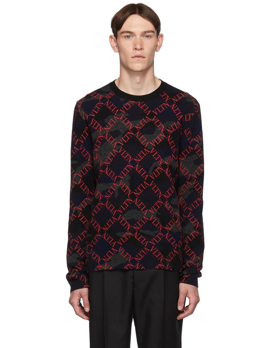 VALENTINO Black & Red Camo Logo Sweater