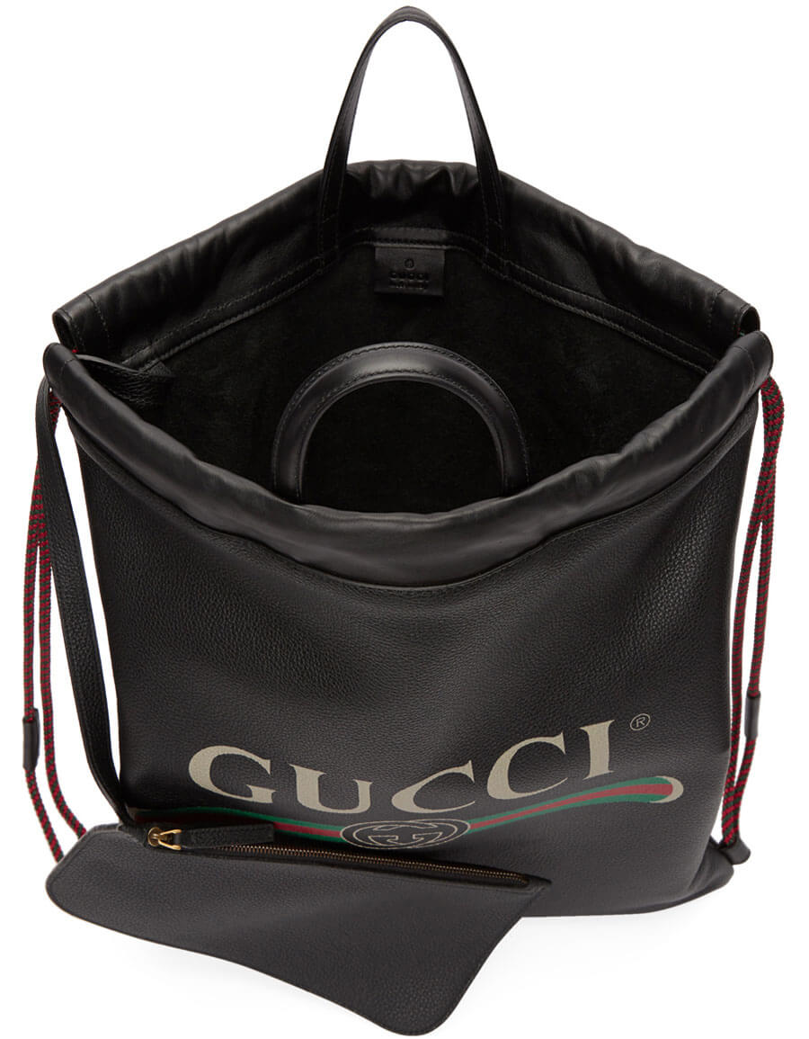 GUCCI Black Leather Drawstring Backpack
