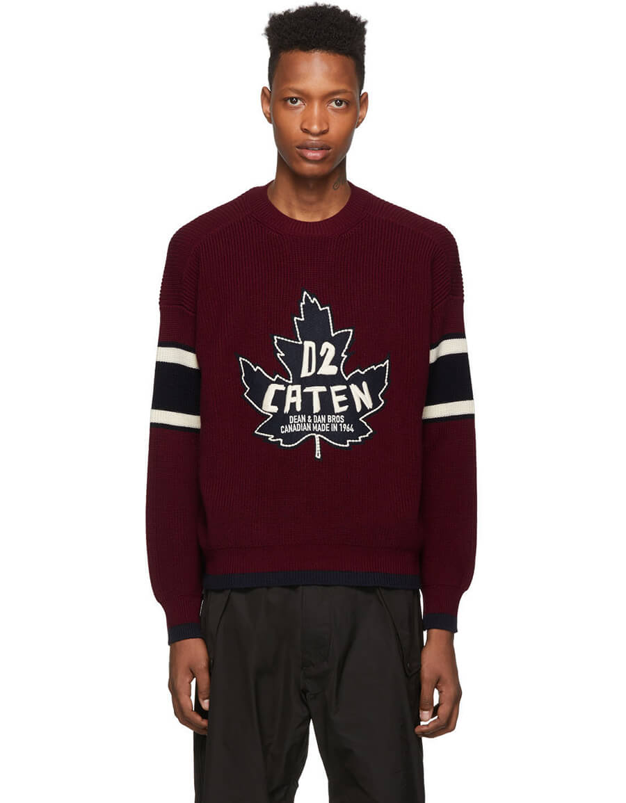 DSQUARED2 Burgundy Knit Sweatshirt