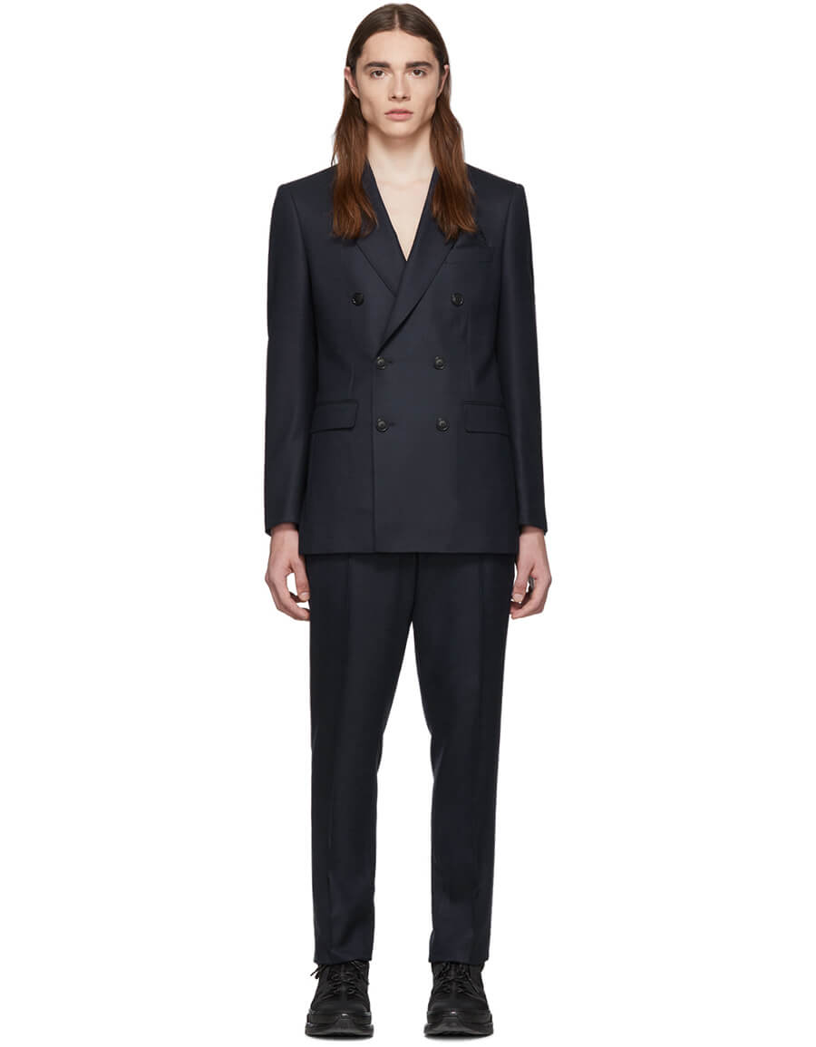 BURBERRY Navy Wool Cashmere Double Breasted Suit