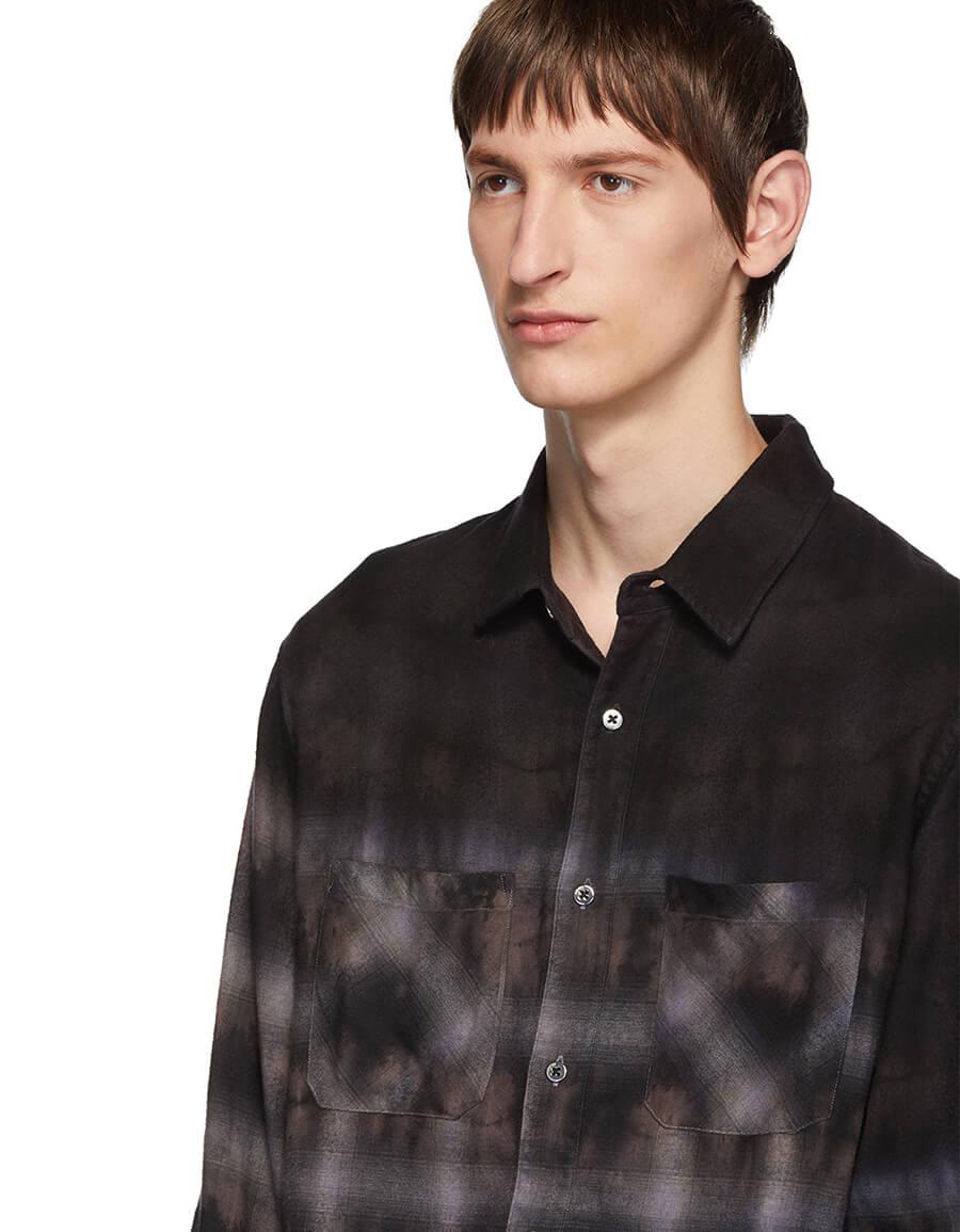 AMIRI Purple Bleached Flannel Shirt
