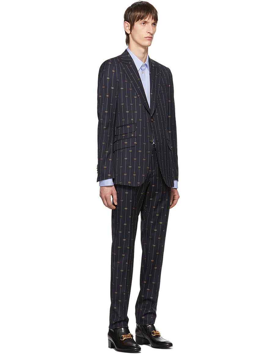 GUCCI Navy GG Pinstripe Suit