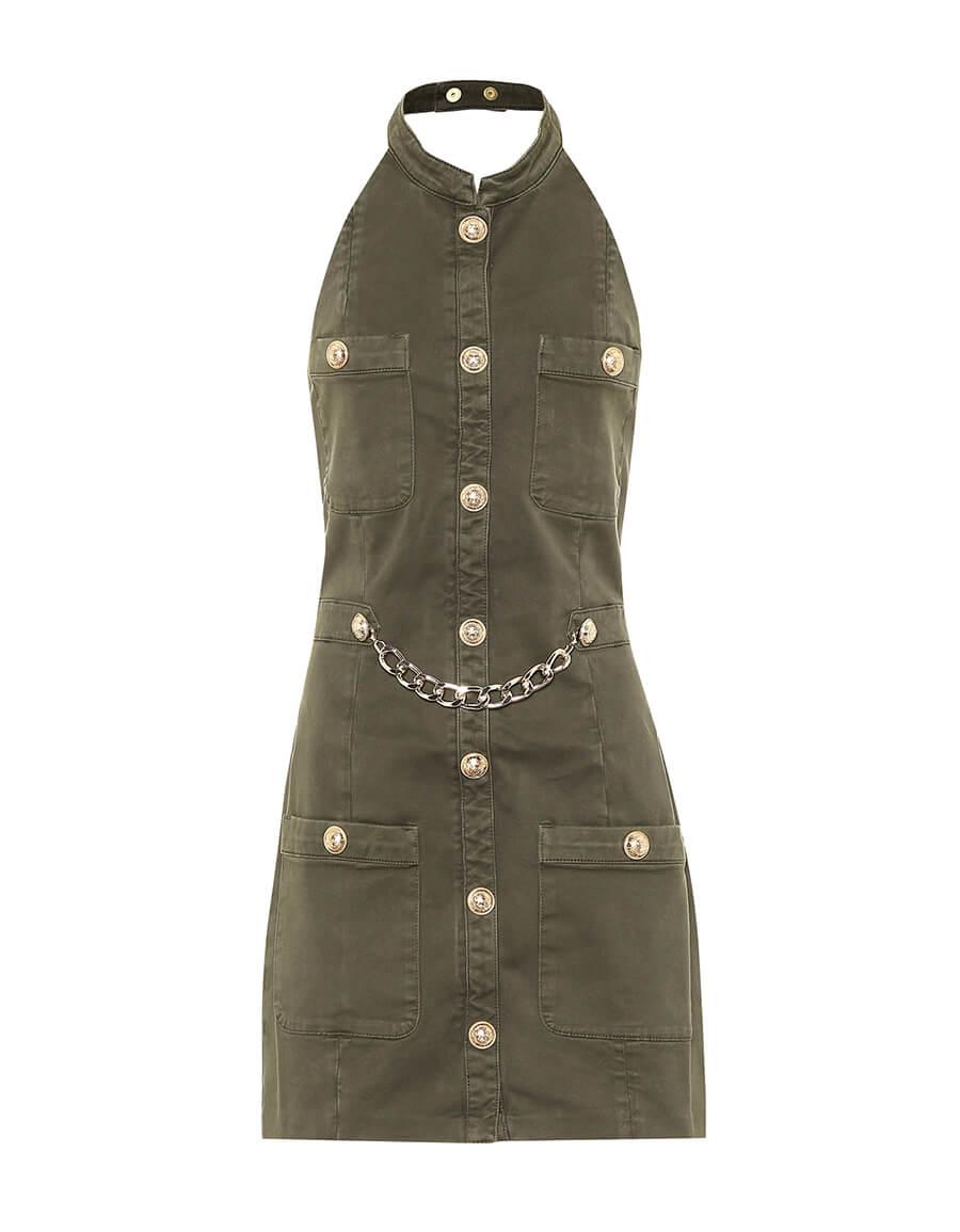 BALMAIN Stretch cotton twill minidress
