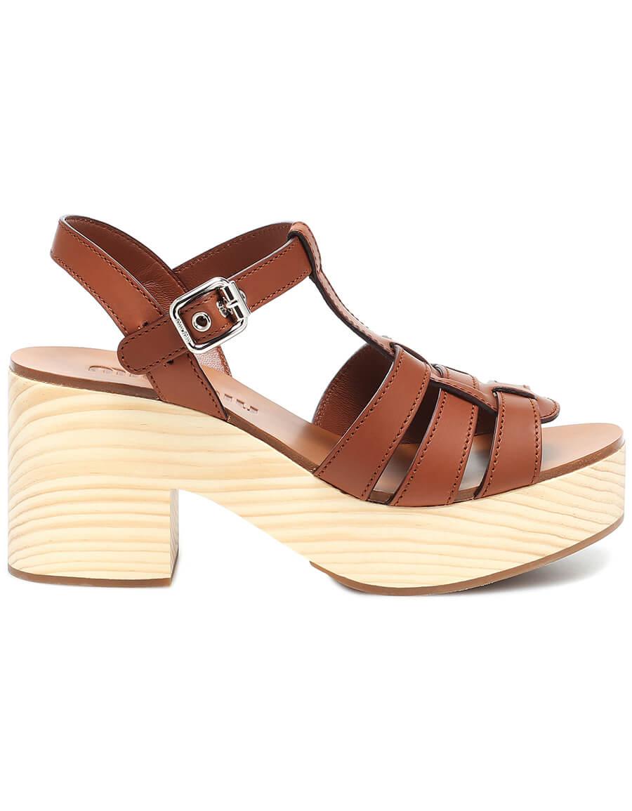 MIU MIU Leather plateau sandals