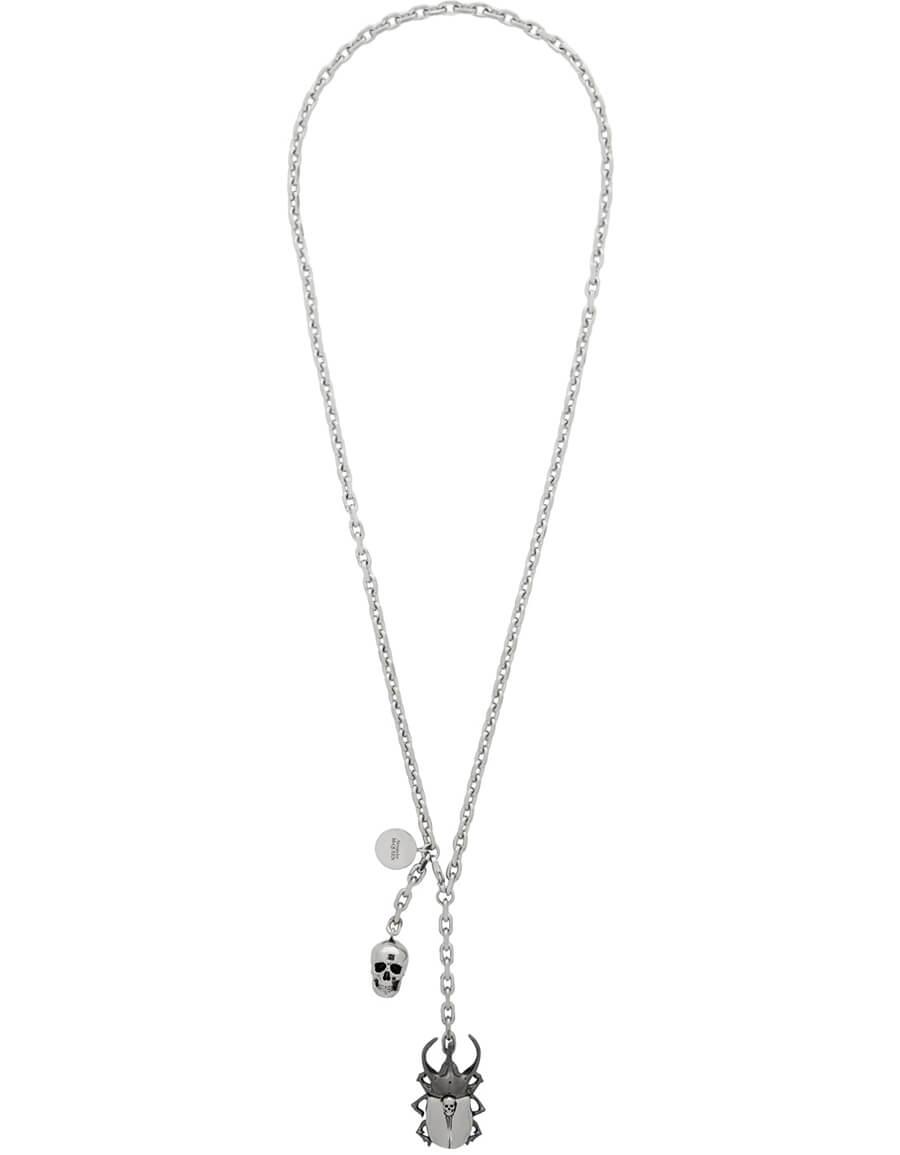 ALEXANDER MCQUEEN Silver Beetle & Skull Necklace