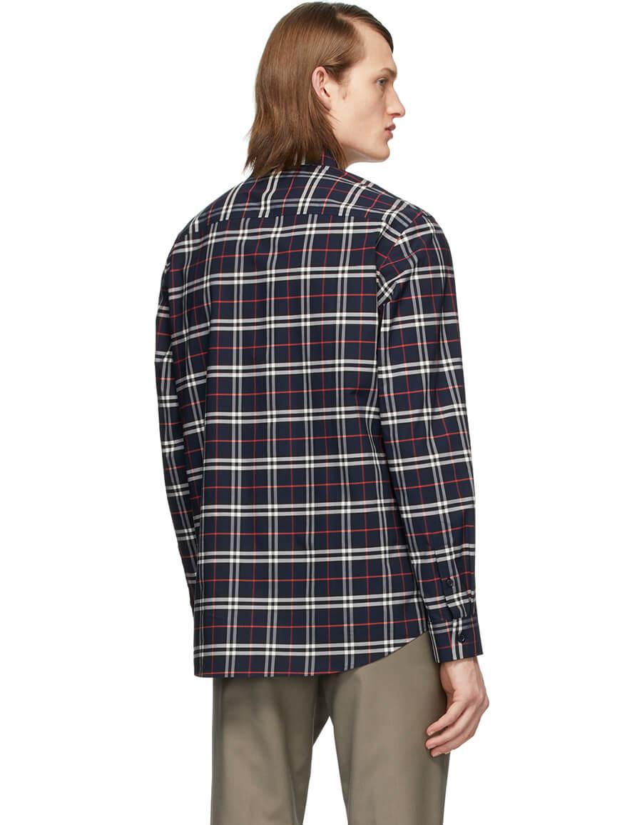 BURBERRY Navy Check George Shirt