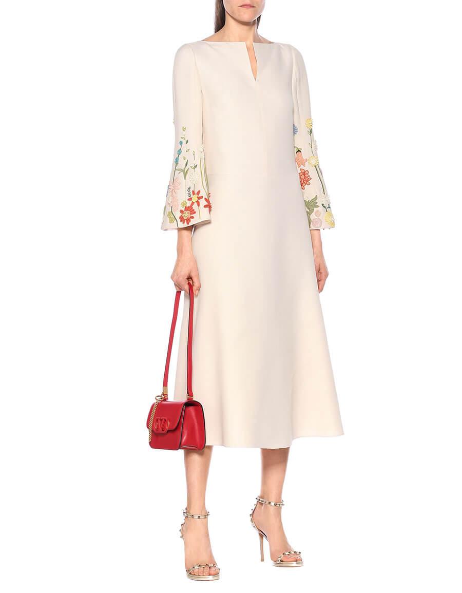 VALENTINO Embroidered wool blend midi dress