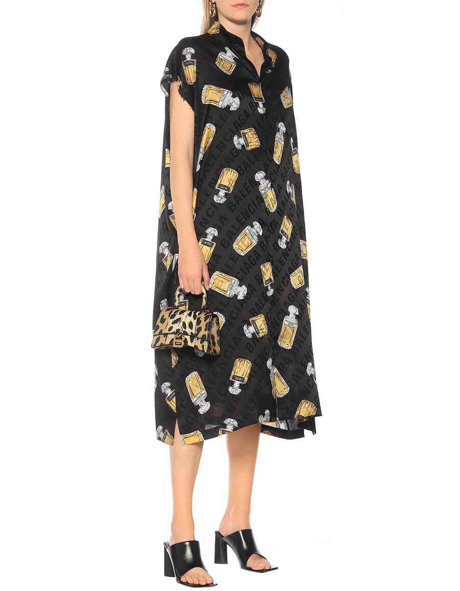 BALENCIAGA Printed silk jacquard midi dress