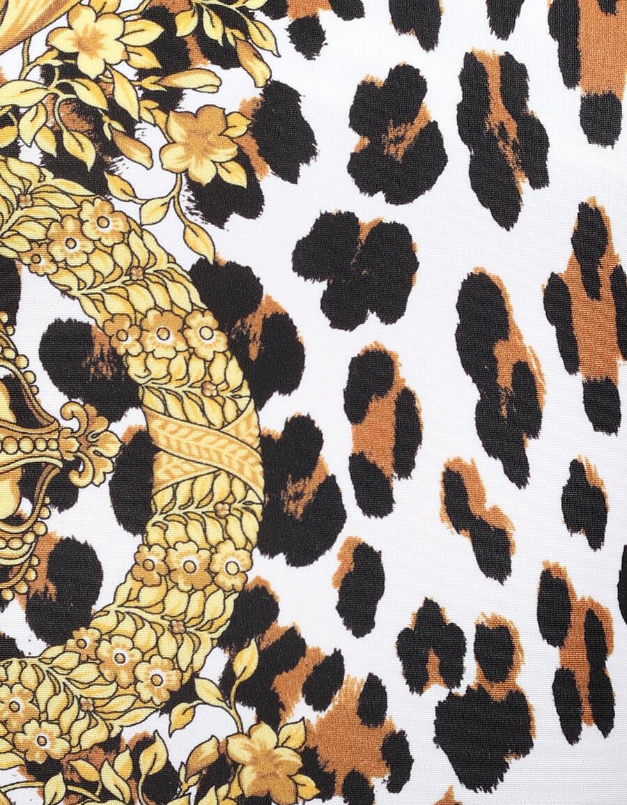 VERSACE Leopard print one shoulder swimsuit
