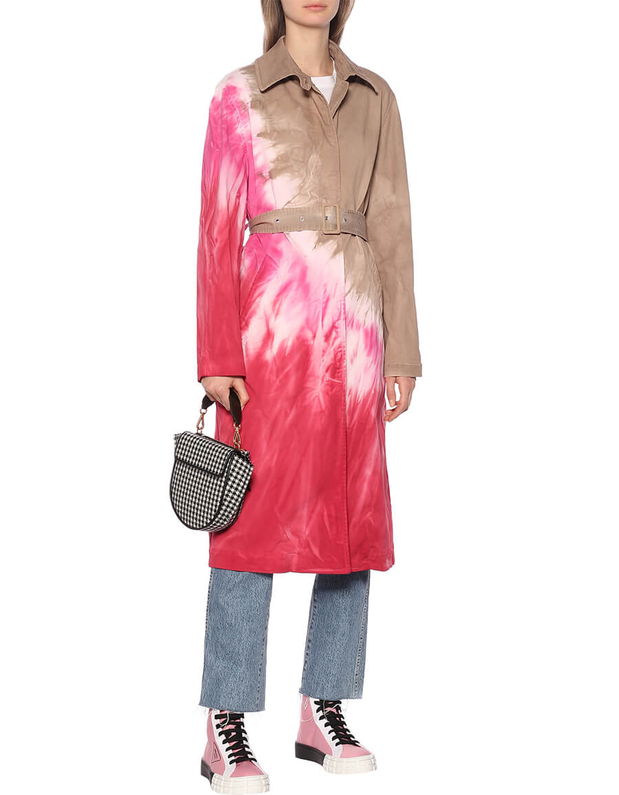 MSGM Tie dye cotton twill trench coat