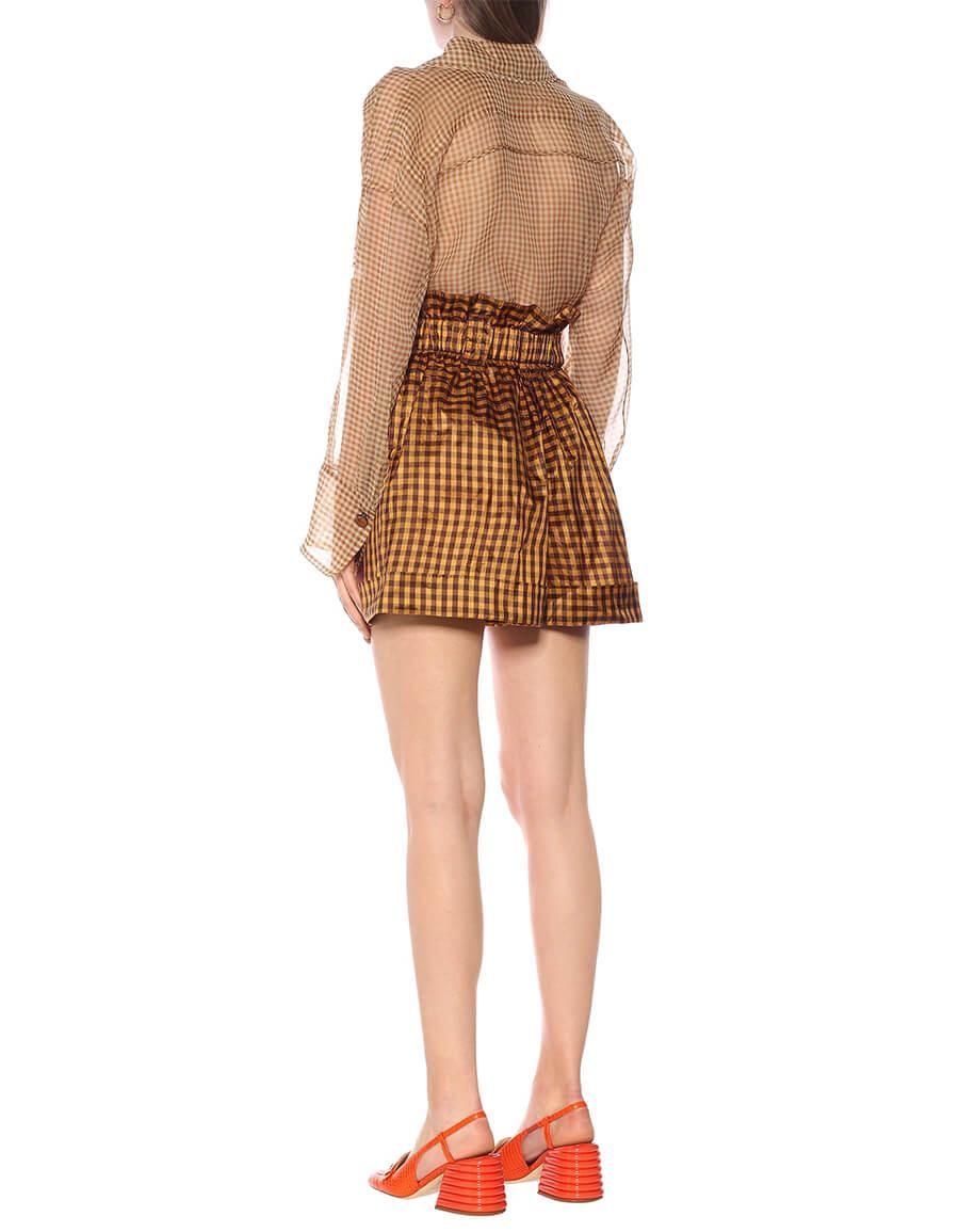 FENDI Checked silk paperbag shorts