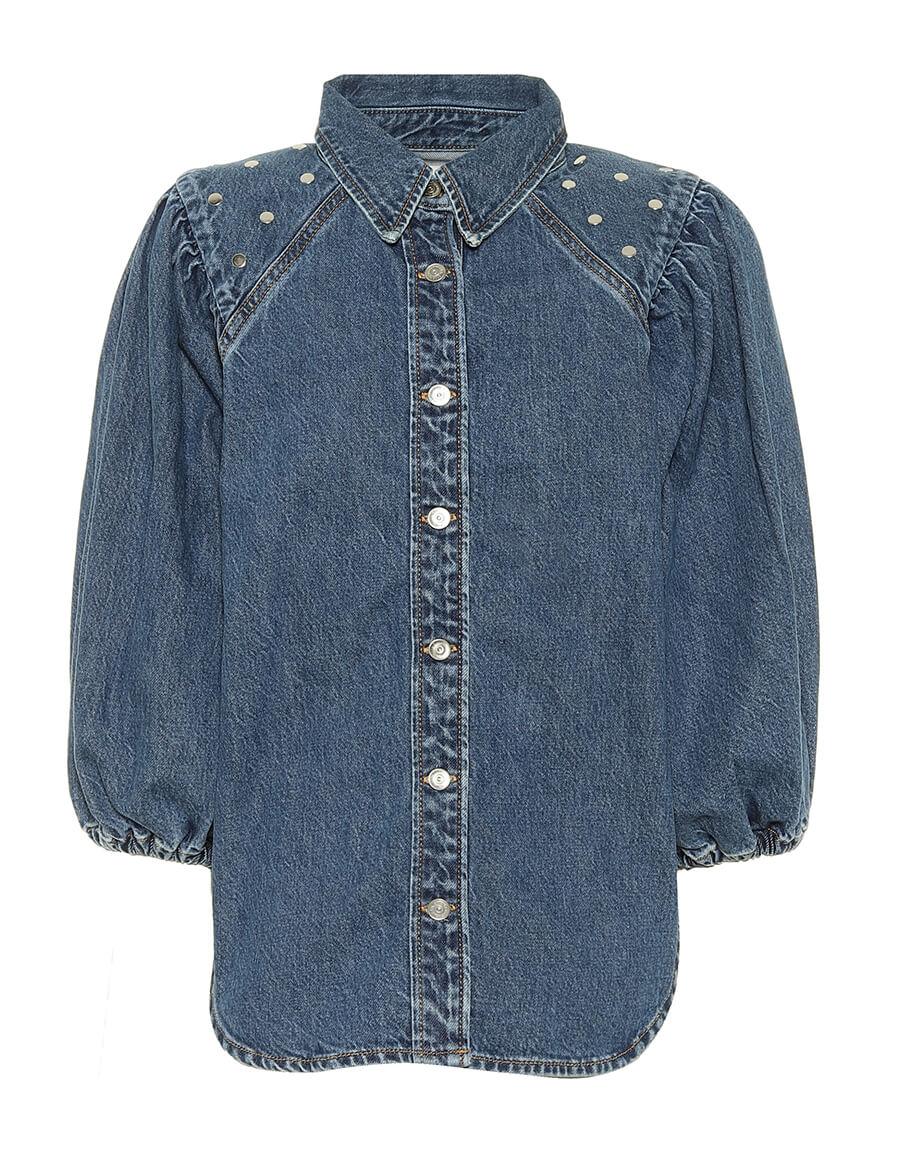 GANNI Embellished denim shirt