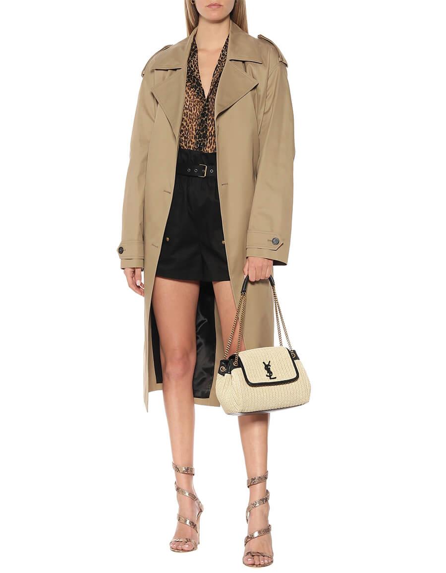 SAINT LAURENT Nolita Small raffia shoulder bag
