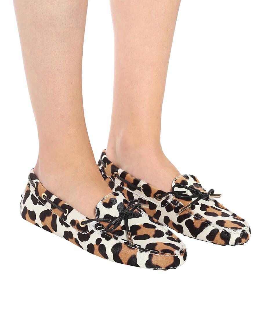 TOD'S Gommino leopard print calf hair moccasins