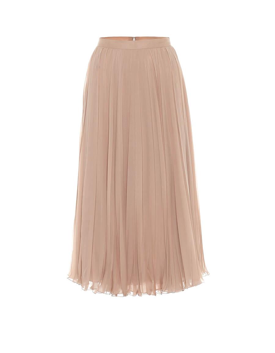 VALENTINO Pleated silk midi skirt