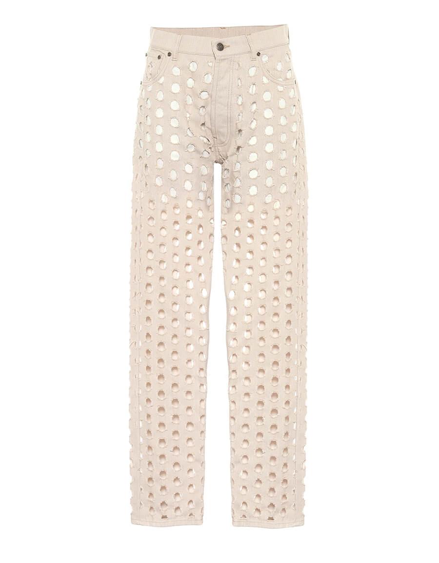 MAISON MARGIELA Cut out high rise straight jeans