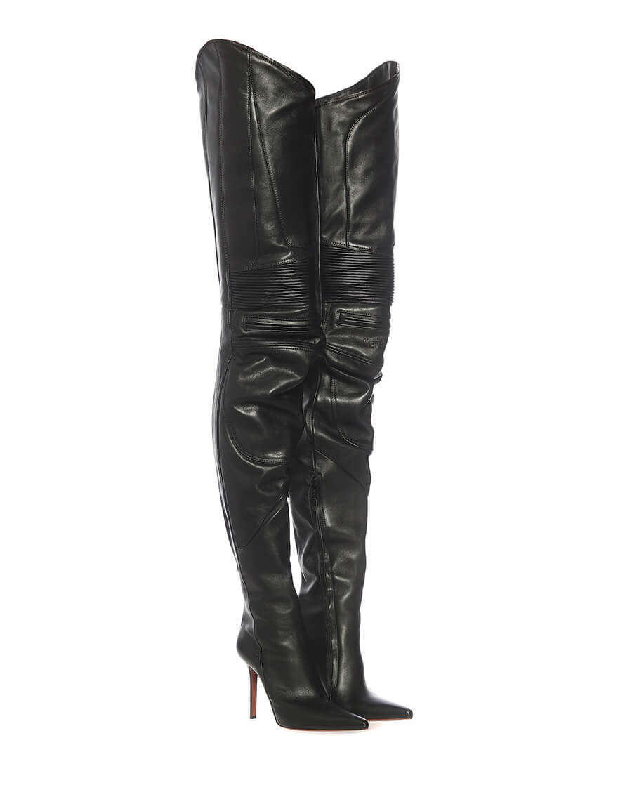 VETEMENTS Leather over the knee boots