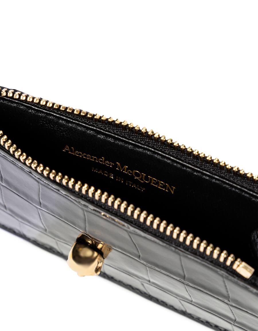 ALEXANDER MCQUEEN Croc effect zipped wallet