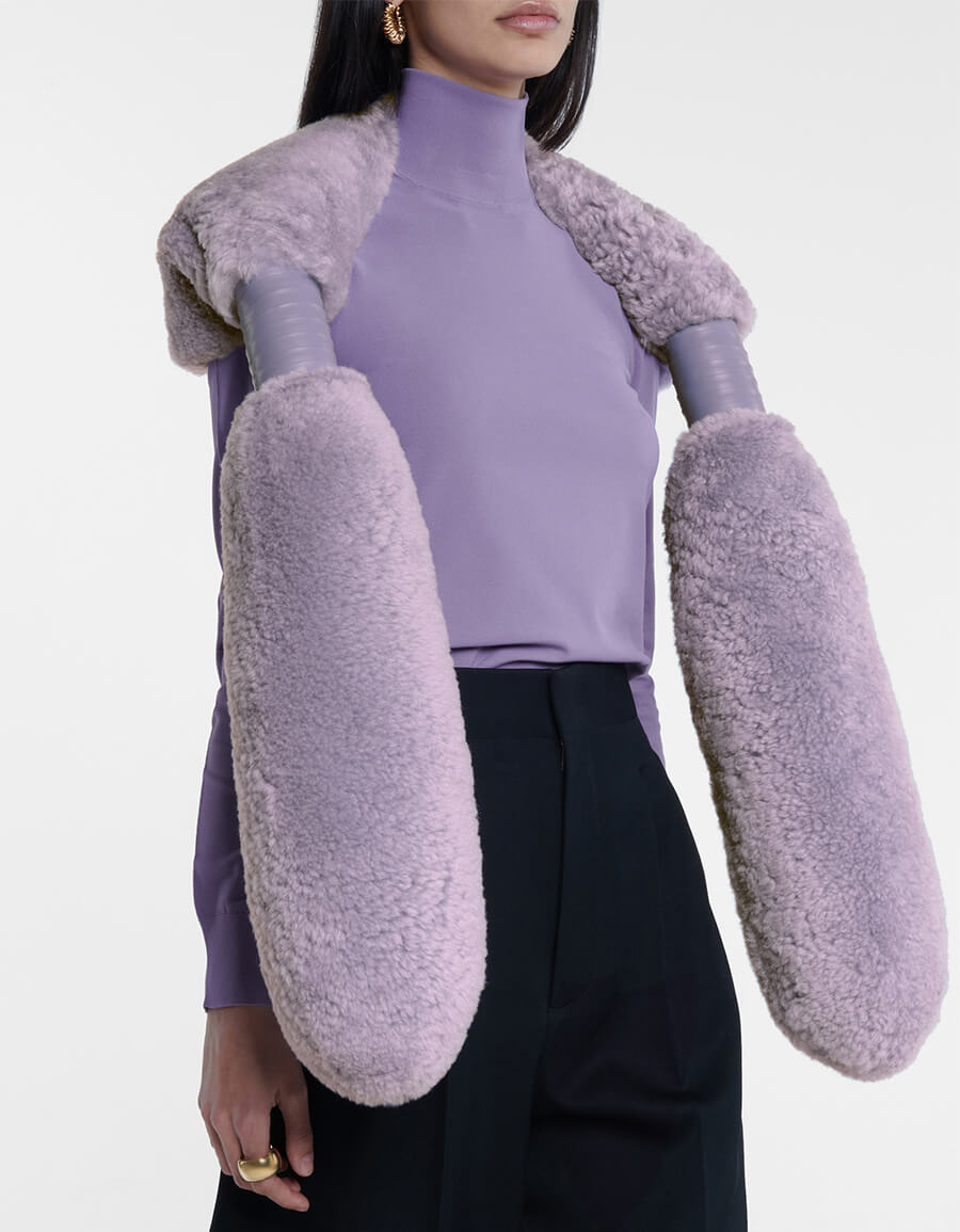 BOTTEGA VENETA Leather trimmed shearling scarf