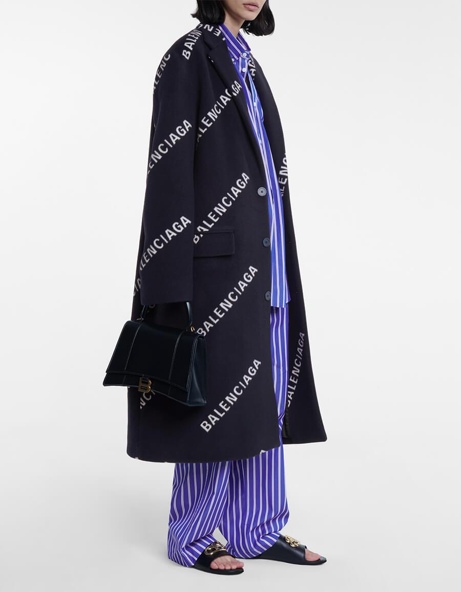 BALENCIAGA Logo wool and cashmere blend coat