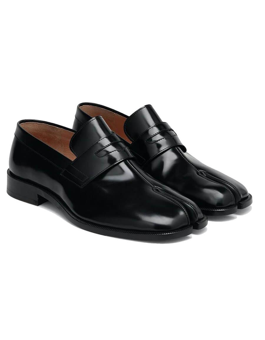 MAISON MARGIELA Black Leather Tabi Loafers