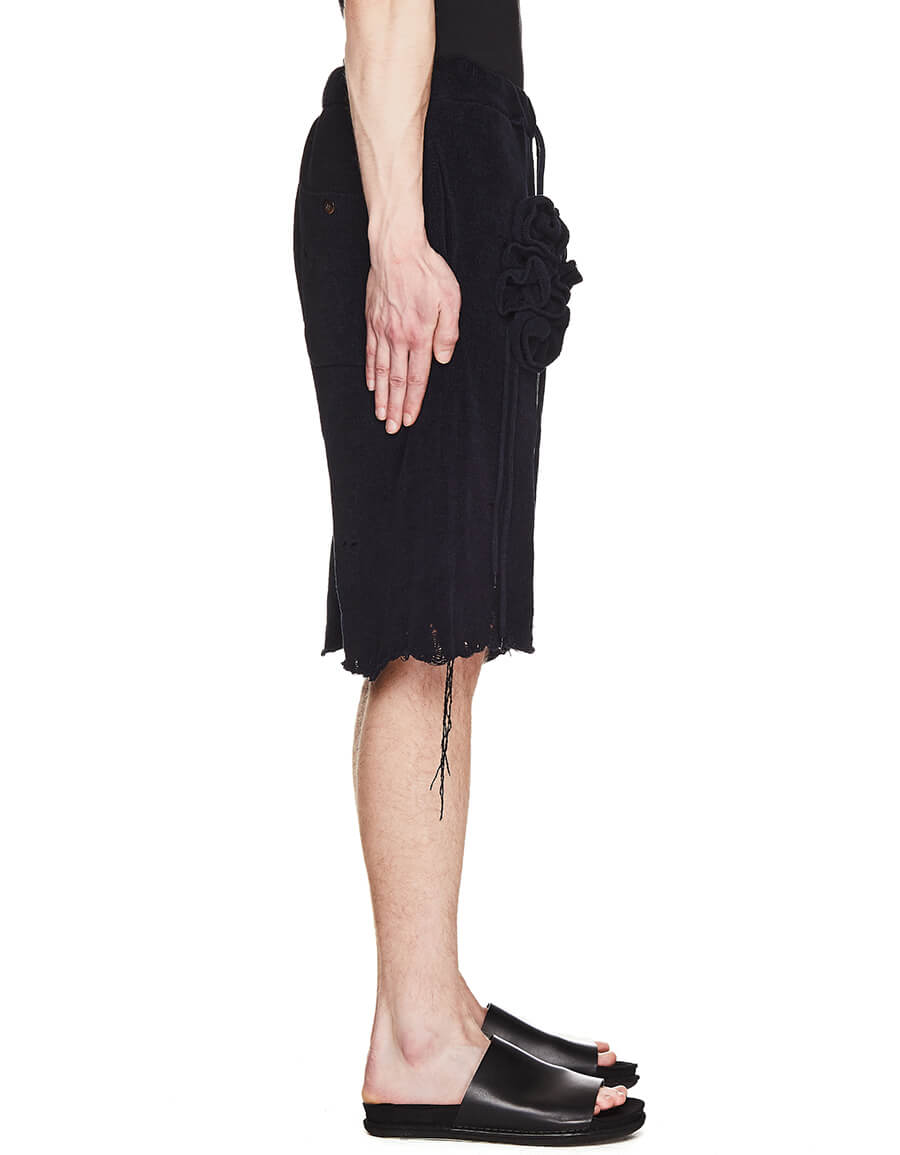 DOUBLET Black Short With Rose