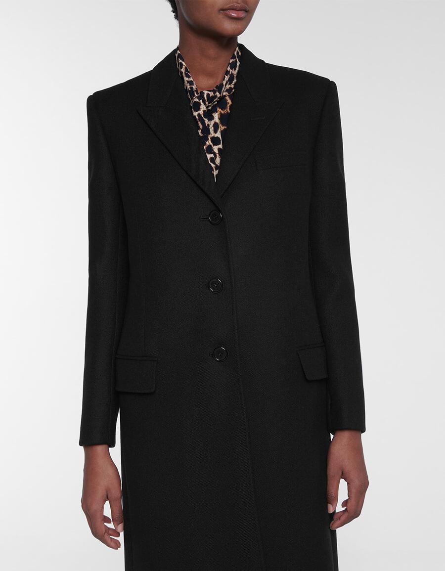 SAINT LAURENT Wool twill coat