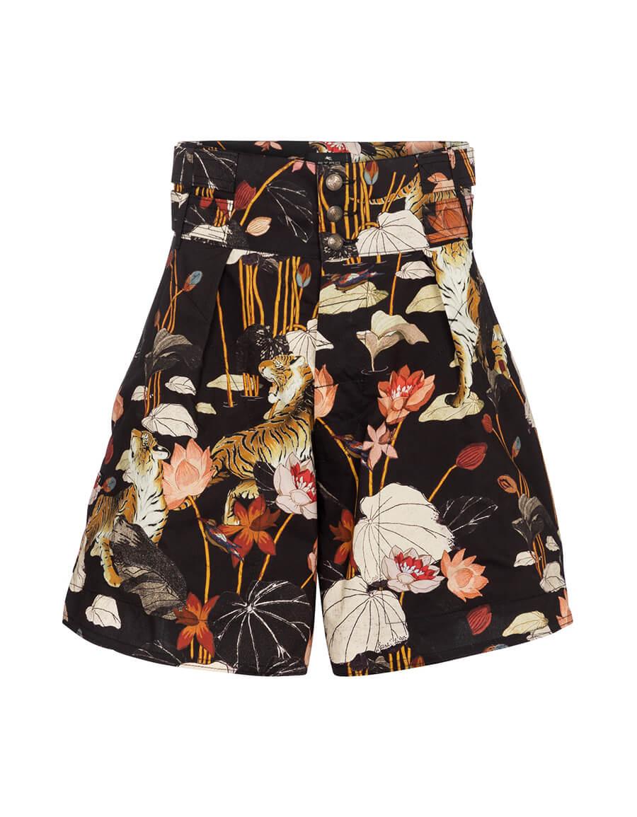 ETRO High rise floral cotton shorts
