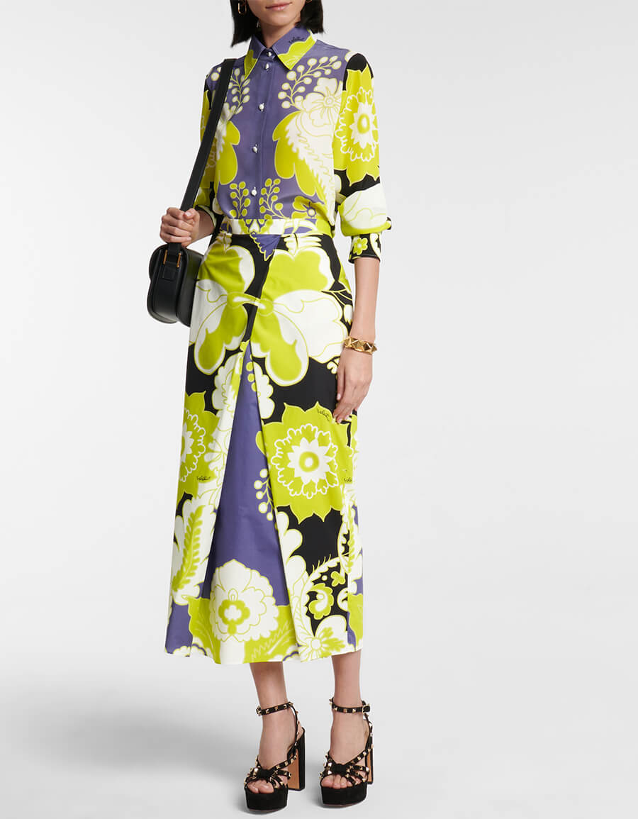 VALENTINO Valentino floral cotton midi skirt